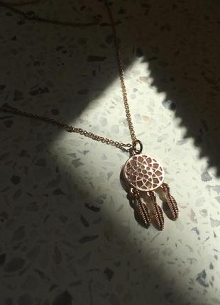 Кулон ловец снов на тонкой цепочке в розовом золоте