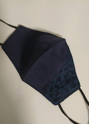 Синяя маска с декором, многоразовая маска с кружевом, хлопковая