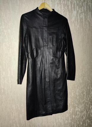 Кожаная длинная куртка тренч пальто лайка матовая кожа