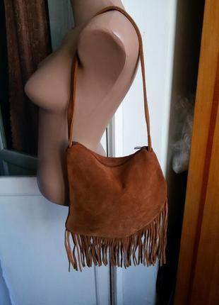 Замшевая сумка с бахромой zara / 100% кожа замш