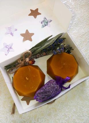 Набор подарочный-натуральные свечи/лаванда