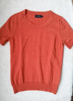 Яркий свитер / водолазка с коротким рукавом из 100% шерсти мер...