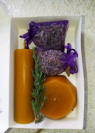 Подарочный набор свечи натуральные/лаванда