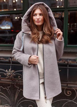 Стильная женская зимняя серая шерстяная куртка пальто с капюшоном