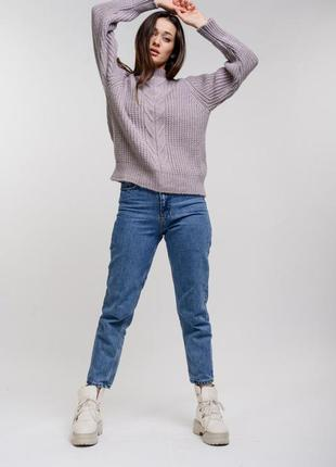 Объемный вязаный свитер оверсайз oversize с крупной вязкой
