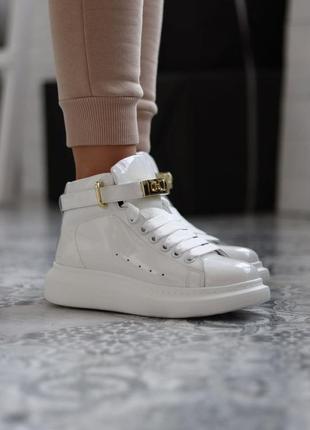 Кроссовки alexander mcqueen sneakers high white premium