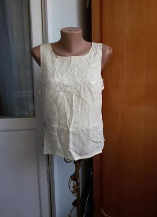 Шелковая блуза / топ в горошек laura ashley 100% шелк