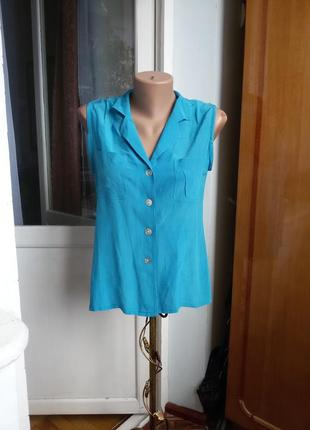 Шелковая блуза без рукавов 100% шелк