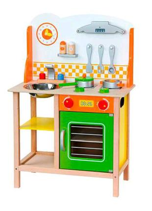Детская кухня из дерева с посудой