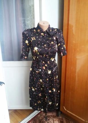 Шелковое платье рубашка guess 100% шелк