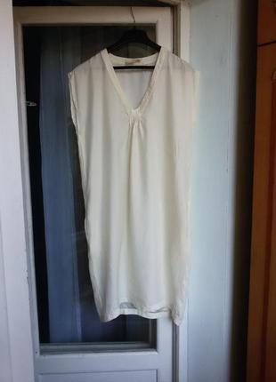 Шелковая туника / платье с карманами loft 100% шелк