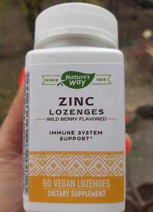 Natures Way, леденцы с цинком, цинк+ витамин С +эхинацея, zinc 60