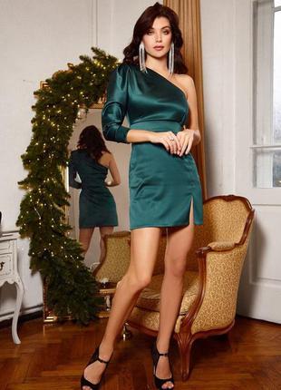 Платье королевский атлас 85 см изумруд