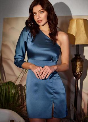 Платье королевский атлас 85 см морская волна