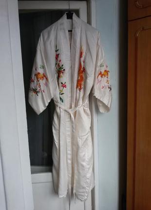 Роскошный  шелковый халат c вышивкой golden bee 100% шелк