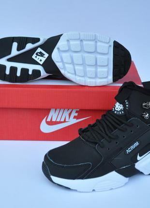 Ботинки nike air huarache acronym (чорно-білі)