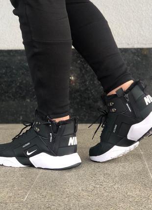 Nike huarache acronym city mid winter black white, кроссовки найк