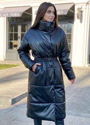 Куртка пальто пуховик зимний удлиненный из эко-кожи