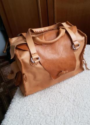 Стильная кожаная сумка ручная работа 100% натуральная кожа