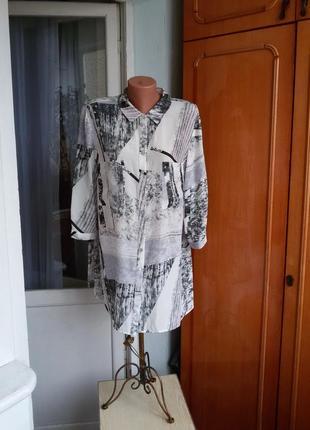 Шелковая рубашка в принт  madeleine 100% шелк большой размер