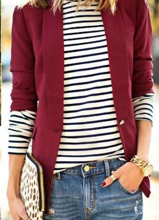 Стильный новый удлиненный пиджак цвета бургунди  modern woman