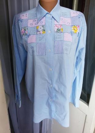 Стильная хлопковая рубашка с  вышивкой 100% хлопок