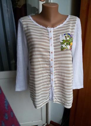 Элегантная стильная шелковая блуза / рубашка в полоску / 100% ...