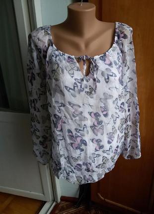 Шелковая блуза с бабочками / на подкладке /100% шелк + вискоза