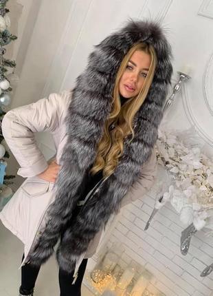 Парка пальто мех песец чернобурка енот натуральный