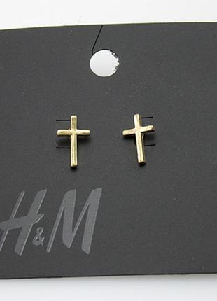 Серьги пуссеты гвоздики крест