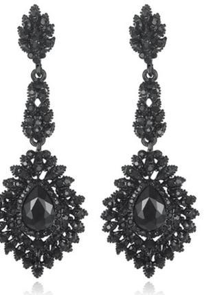 Красивые вечерние длинные черные серьги с камнями бижутерия не...