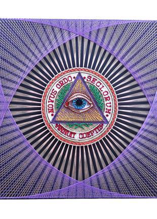 Стринг арт масоны, всевидящее око, циркуль и наугольник картина