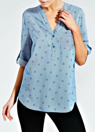 Удлиненная блуза в сине-белую полоску с принтом сердечки р.18
