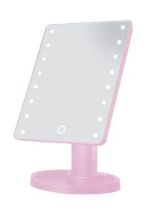 Настольное зеркало с подсветкой 16 LED MIRROR, квадратное
