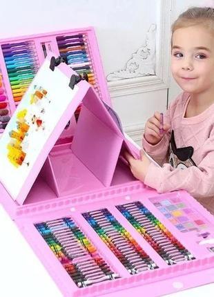Детский набор для рисования 208 предметов+мольберт