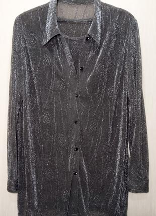 Праздничная люрексовая блуза с майкой р.54-56 блестящая красивая