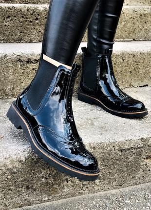 Женские Кожаные Ботинки Челси  Демисезонные