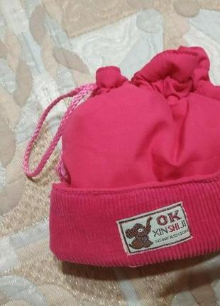 Теплая шапочка для модницы с хвостиком)