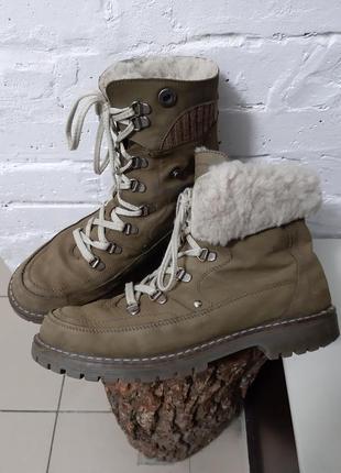 Зимние ботинки на шнуровке берцы натуральный нубук
