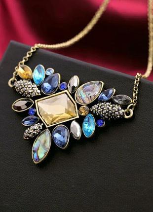 Стильная подвеска колье ожерелье с разноцветными камнями в вин...