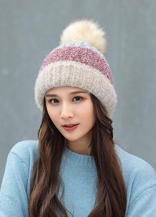 Теплая женская зимняя шапка на меховой подкладке с бубоном пом...