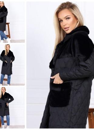 Тёплое зимнее женское пальто стёганное плащевка на синтепоне