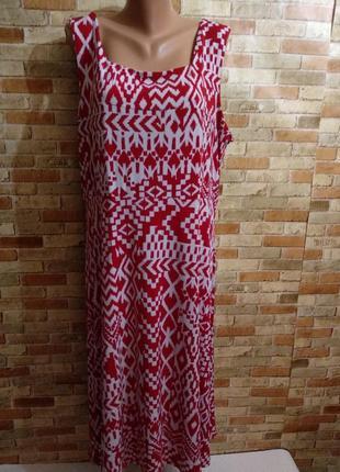 Стрейчевое платье в принт с пояском 24/58-60 размера