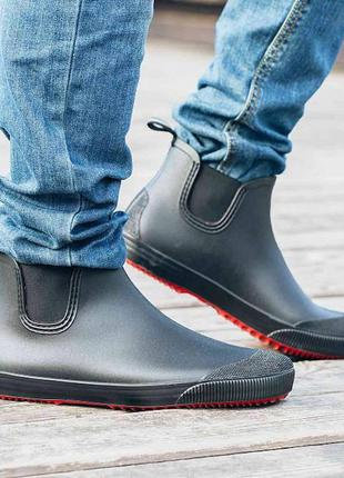 Мужские резиновые ботинки nordman beat  черные на красной подошве