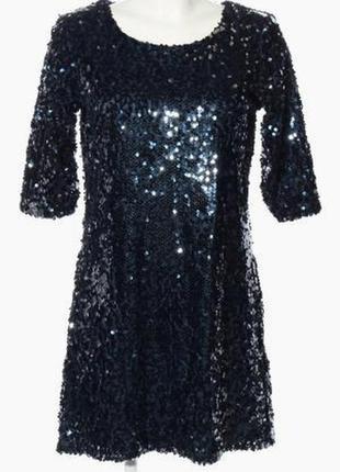 Темно-синее платье в пайетках esmara