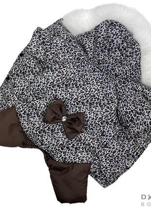 Одежда для собак Зимний комбинезон ДЛЯ ДЕВОЧЕК леопард