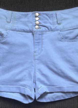 Женские голубые джинсовые короткие шорты высокая посадка на бе...