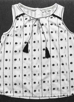 Белая блуза next хлопок без рукава вышивка вышиванка пог 48 см