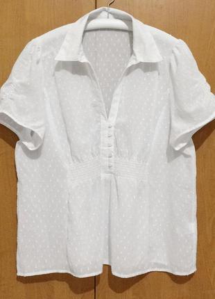 Белая блузка блуза короткий рукав пог 55 см marks & spencer