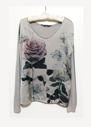 Женская вискозая блуза блузка guess принт пог 90 см длинный рукав